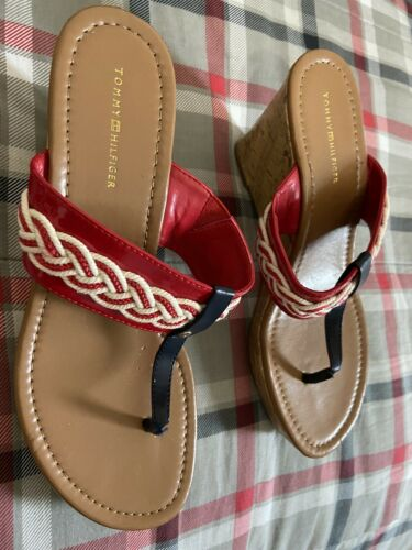 Womens Vintage Red White Blue Tommy Hilfilger Sandals Flip Flops Sz 9
