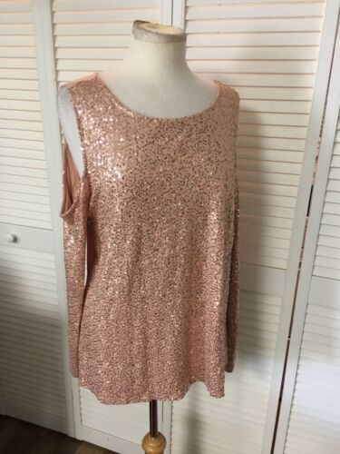 International Concepts Women's Sz L Sequins Blouse Long Sleeve Open Shoulder NWT