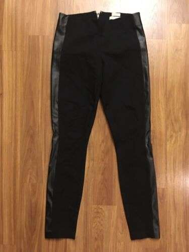J. Crew Women's Sz 0 The Gigi Pant Blank Leggings W/ Leather Style Side Stripe