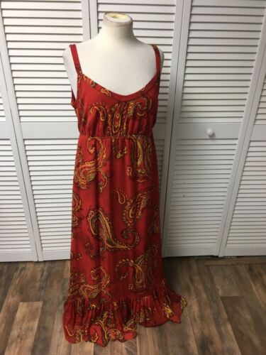 Ann Klein Women's Sz 12 Red Multicolor Paisley Maxi Dress 100% Silk Yarn NWT