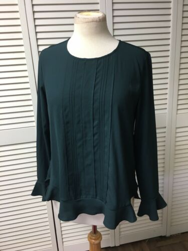Ann Taylor Women's Size Small Forest Green Long Sleeve Blouse