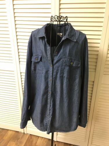 Croft & Barrow Women's Size XL Blue Jean Long Sleeve Blouse Button-Down