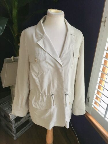 Chicos Women's Size 2 Cream Colored Jacket Button Down Front W/ Pockets