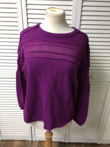 True Craft Women's Size Small Purple Long Sleeve Sweater W/ Mesh Accent NWT