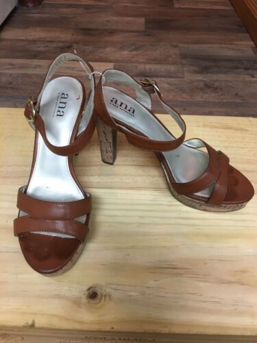 a.n.a. Women's Size US 8M Brown Heels Strap Across Top, Buckle Ankle, Open Toe