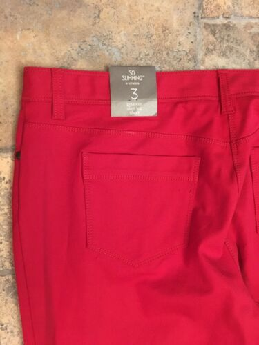So Slimming By Chicos Women's Size 3 Red Pants Getaway Slim Leg Short NWT