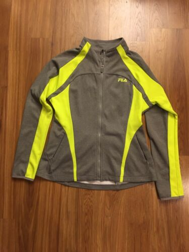 Fila Sport Women's Size Large Grey Zip Up Jacket W/ Neon Yellow, Zipper Pockets
