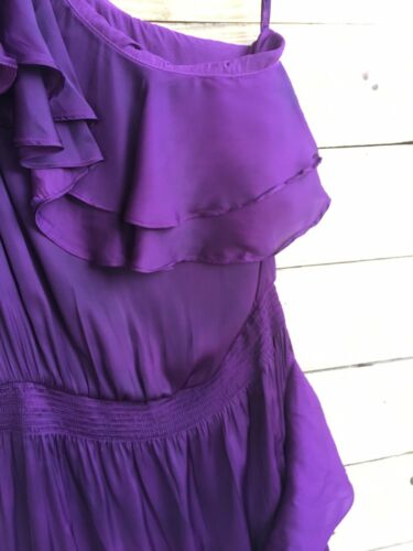 White House Black Market Women's Size 4 Purple Dress One Shoulder W/ Ruffles NWT