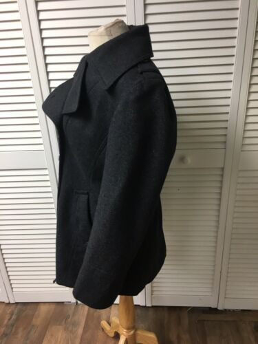 Dana Buchman Women's Size Large Grey Peacoat With Buttons And Pockets