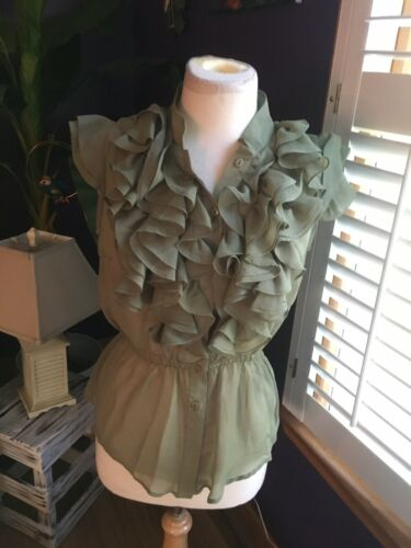 Free Generation Women's Size Med Green Sheer Blouse W/ Ruffles Button Down NWT