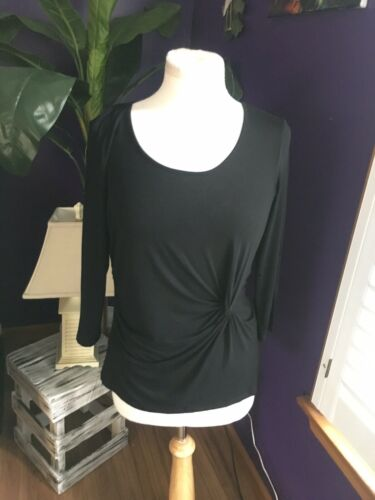 Cable & Gauge Women's Size Medium Black Long Sleeve Blouse Knot Tie On Side NWT