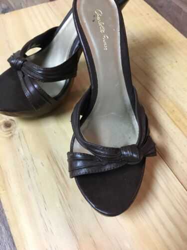 "Charlotte Russe Women's Size US 7 Black Heels Open Toe Open Back 4"" Heel"
