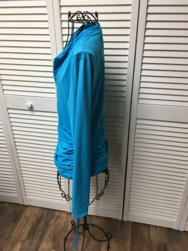 Athleta Women's Size Large Blue Long Sleeve Top W/ Zipper Front & Pleated Sides