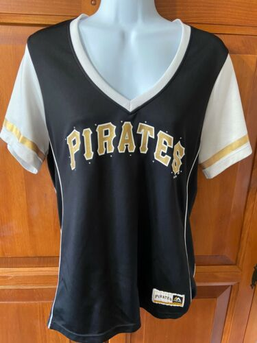 Women's Majestic Fan Fare Pittsburgh Pirates V-Neck T-Shirt Sz L