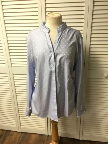 Chicos Size 4 Women's Long Sleece Button-Down Periwinkle W/ White Dots NWT