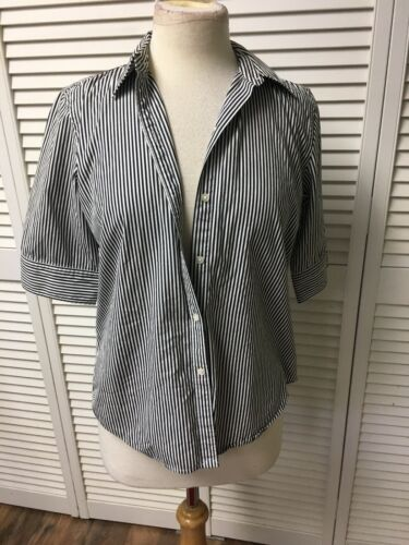 American Living Women's Sz M Button-Down Blouse Navy/White Stripes Half Sleeves