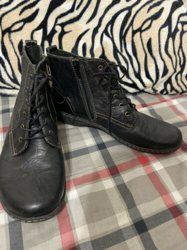 Womens Clarks Black Leather Lace Up Combat Boots Sz 9