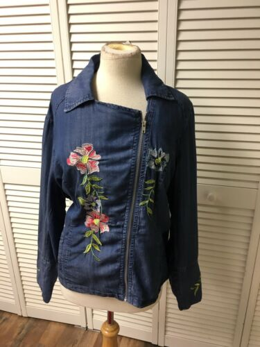 Chelsea & Theodore Women's Sz 1X Blue Jean Zip Up Jacket Embroidered Flowers NWT