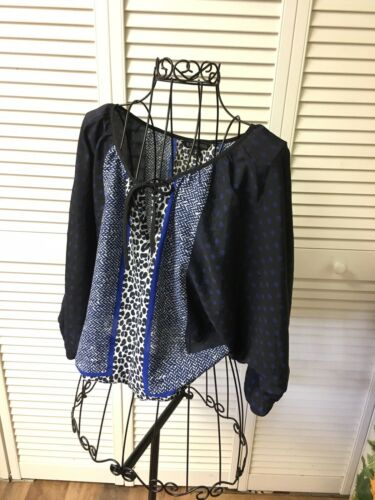 Express Women's Size XS Long Sleeve Sheer Patterned Flowy Blouse W Elastic Waist