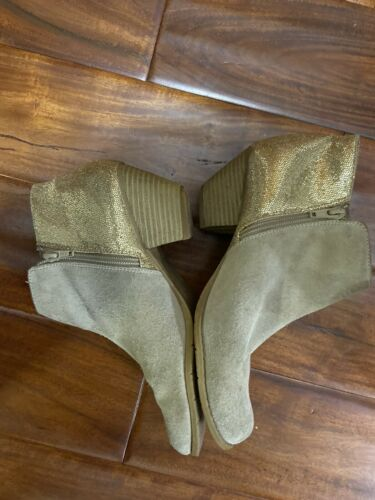 Womens BC Biege Suede Gold Sequences Ankle Boots Or Shooties Sz 8