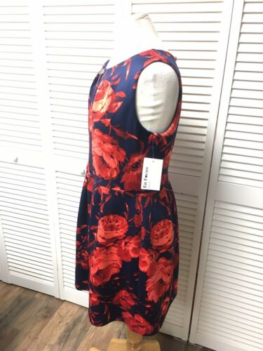 Enfocus Petite Women's Size 12P Dress Sleevless Navy Blue W/ Red Floral Pattern