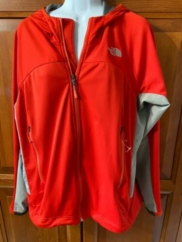 North Face Jacket Hooded 2 Front Zip Pockets Orange Sz XL
