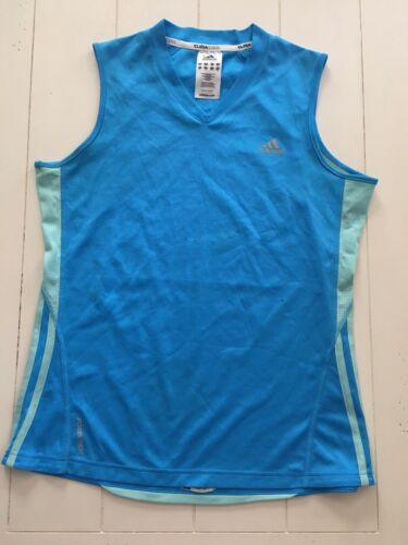 Adidas Women's Sz M Blue Athletic Tank Top Jersey Style Material Climacool