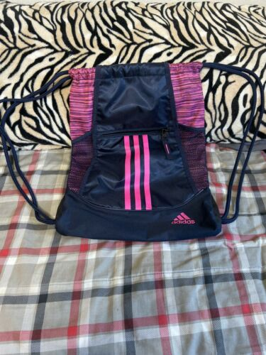 Adidas Navy Pink Drawstring Bag 3 Strips Back Pack