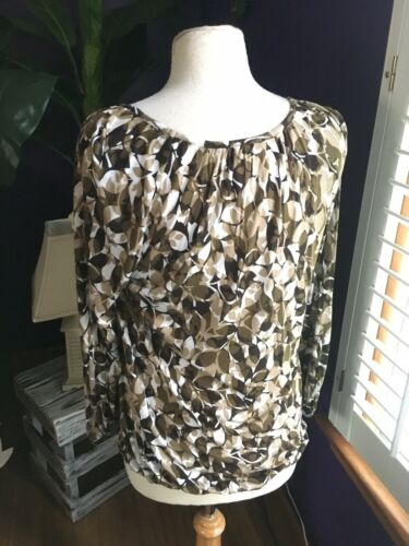 Michael Kors Women's Size Small Long Sleeve Blouse Pleated Around Neck Patterned