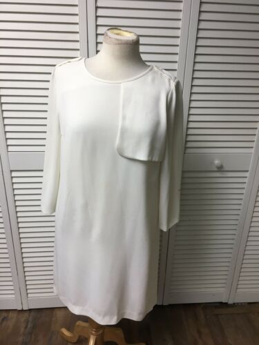 Club Monaco Women's Size 4 White Dress Long Sleeves Slip Underneath