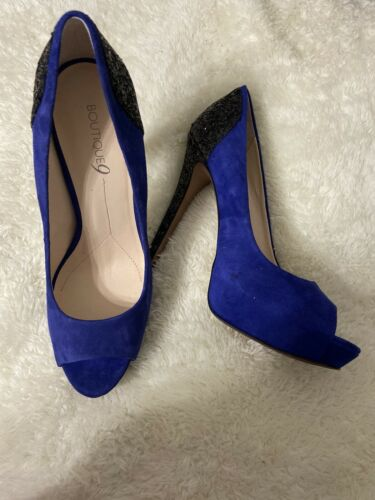 Boutique 9 Blue Sparkle Glitter Suede Peep Toe Platform Stiletto Sz 10