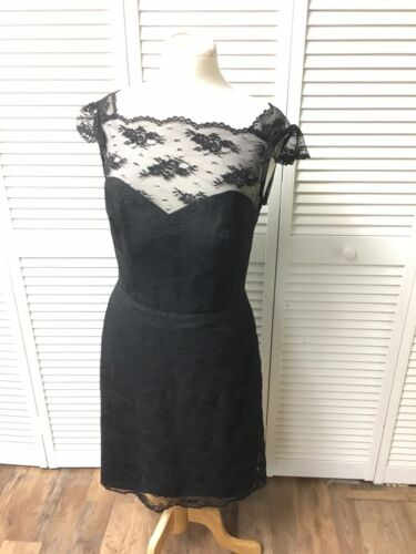 Couture Collection Women's Size 10 Black Dress W/ Lace Cover Short Sleeve NWT