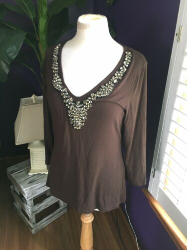 Boston Proper Women's Size Medium Brown Long Sleeve Blouse V-Neck W/ Gemstones