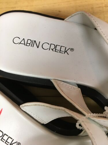 Cabin Creek Women's Size US 7.5M White Strappy Sandals Open Back Open Toe