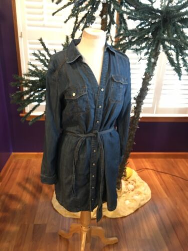 INC International Concepts Women's Size 6 Blue Jean Dress With Belt