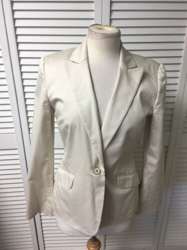 Calvin Klein Women's Sz 4 Cream Colored Blazer Jacket Stretch W/ Button, Pocket