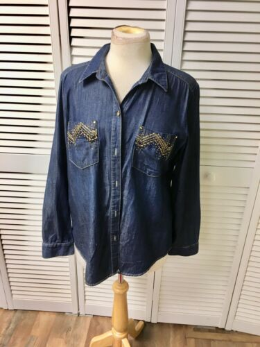 "Chico's Women's 40"" Chest Denim Style Blue Button-Down Blouse Long Sleeves"