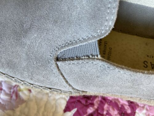 Women's fabiolas espadrilles Spain Grey Leather Shoes Sz 39 / 8
