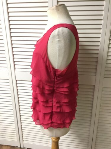 Express Women's Size Large Pink Tank Top W/ Ruffles And Side Zipper