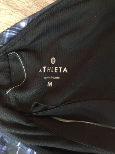 Athleta Women's Size Medium Blue/Black Athletic Tank Top Built In Bra
