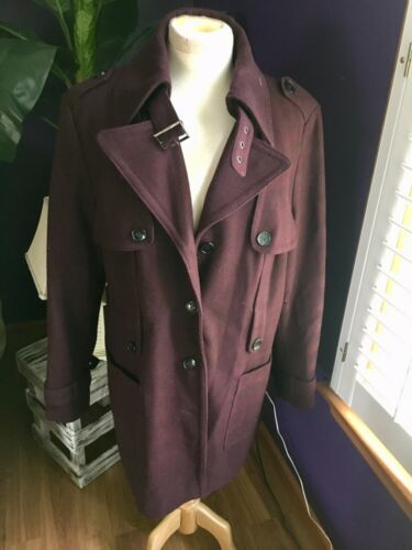Calvin Klein Women's Size XL Long Peacoat Burgundy/Plum Color W/ Pockets Buttons