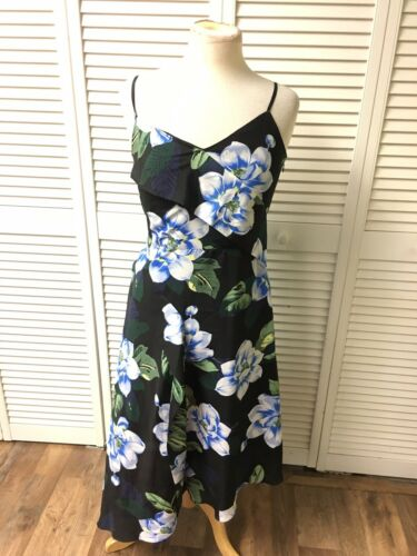 Banana Republic Women's Size 4 Long Flowy Sun Dress Black W/ Blue Flowers