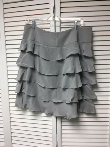 Talbots Petites Women's Size 14P Grey Ruffle Skirt With Side Zipper NWT