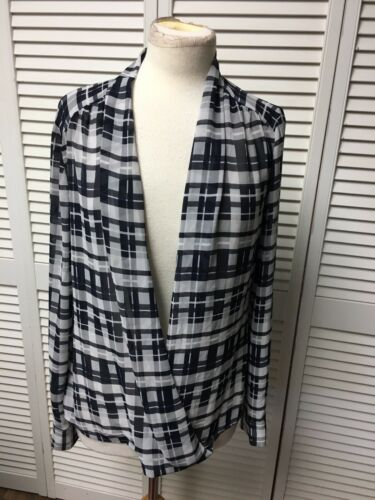 Alfani Women's Size 10 Long Sleeve Plaid Sheer Blouse V-Neck