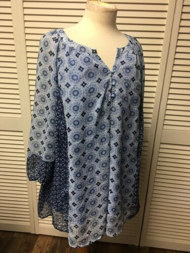 St. John's Bay Women's Size 3X Long Sleeve Sheer Blouse W/ Shirt Underneath