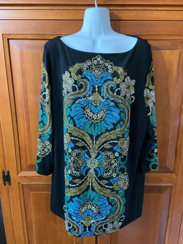 Women's JM Collection Tunic Top Pull Black Multi Color Design Sz 1x