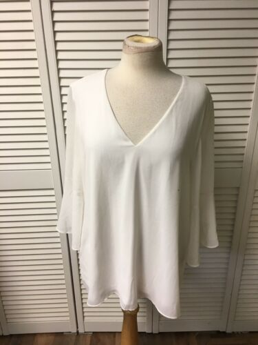 Calvin Klein Women's Size Large White Blouse Shear Cover V-Neck Bell Sleeves