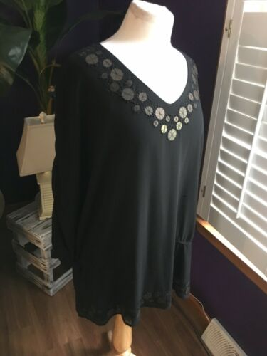 Coldwater Creek Women's Size 1X/18 Black Long Sleeve Blouse W/ Beaded V-Neck