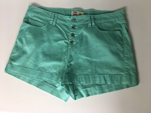 LEI Juniors Size 17 Reg Teal Colored Shorts Tatum High Rise Multiple Buttons