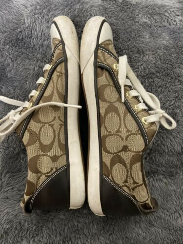 Coach Barret Women's Signature Beige Canvas Brown Leather Trim Shoes Sz 7.5